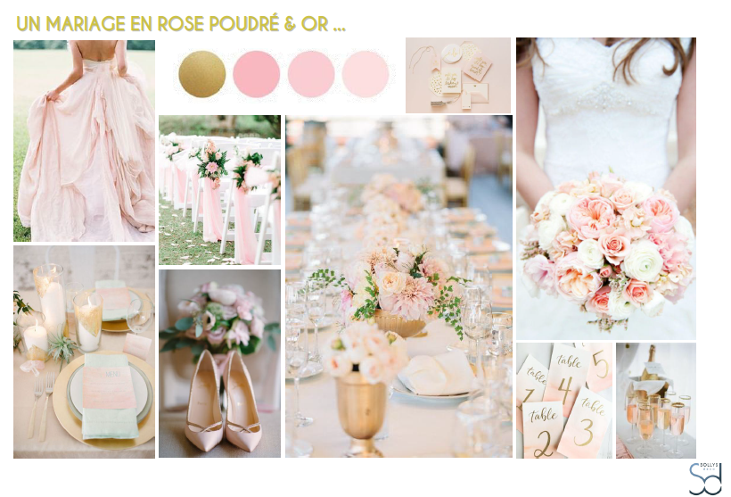 Planches d inspiration mariages sollys deco - Deco mariage rose poudre ...